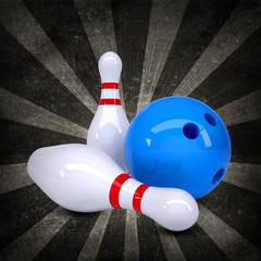 Bowling ball breaks standing pins. Grunge style