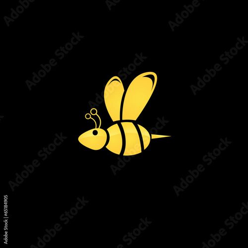 vector golden bee icon on black background - 65184905