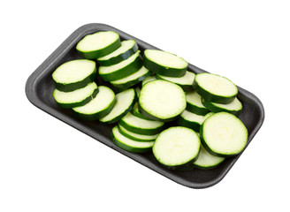 Summer squash slices on foam tray