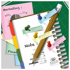 Business Infographic On Ring Organizer Notebook With Pencil And