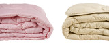 Parts of pink and beige blankets isolated on white background