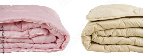 Parts of pink and beige blankets isolated on white background - 65185905