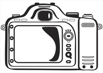 vector photo camera rear view isolated on white background