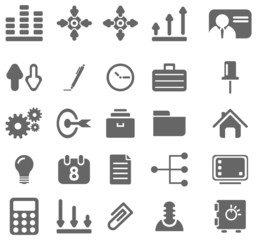 Gray business icons