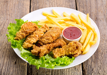 fried chicken with vegetable