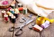 Leinwanddruck Bild - Old scissors, buttons, threads