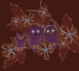 Big eyes owls family at night