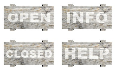 Old wooden informative signs set with word stamps isolated