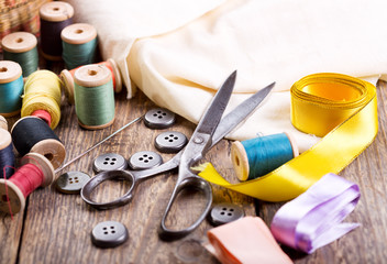 Old scissors, buttons, threads