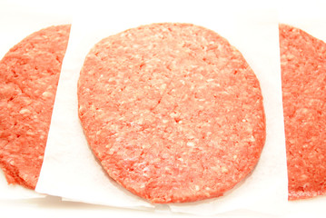 Close-Up of Raw Hamburger Patties