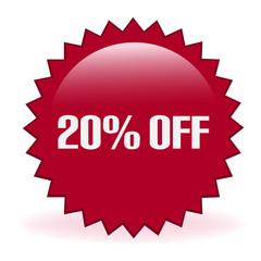 Twenty Percent Off Discount Sticker