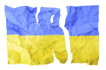 torn Ukrainian flag