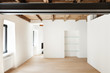 modern loft, empty room with windows