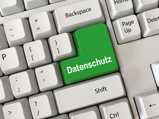 Keyboard with a word Datenschutz