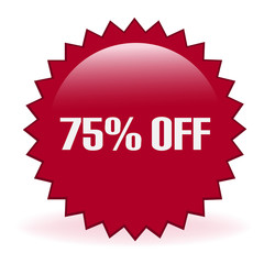 Seventy Five Percent Off Discount Sticker