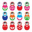 Russian doll, retro babushka vector colorful icons set