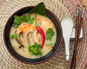 Traditional spicy Thai Tom Yam soup