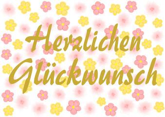Herzlichen Glückwunsch auf rosa und gelben Blumen