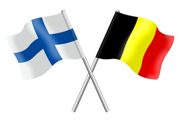 Flags : Finland and Belgium