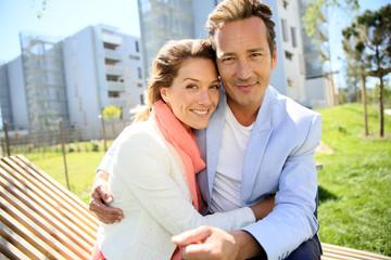 Portrait of mature loving couple enjoying sunny day