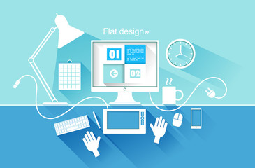Flat design of modern devices. vector illustration