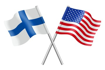 Flags : Finland and USA