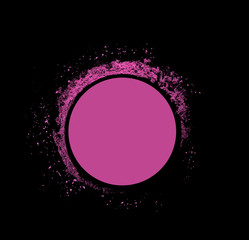 Pink pastil container powder on black background