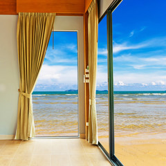 Room at beach with blue sky