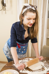 Woman at sexy suit make dough