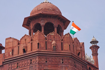 Guard tower at the red fort in Delhi
