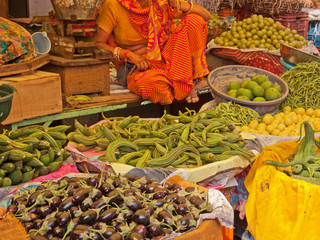 Produce for sale in Jaipur market