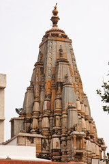 The ornate tower of a Hindu temple in Jaipur
