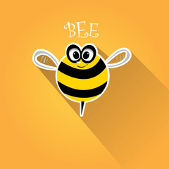 cartoon cute bright baby bee on honey background