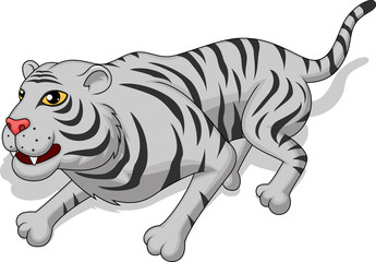 Aggresive white tiger cartoon