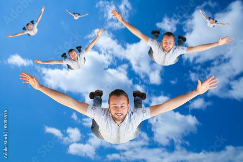 Deurstickers Luchtsport Uomini che si paracadutano