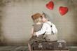 Leinwanddruck Bild - Junge küsst ein Mädchen
