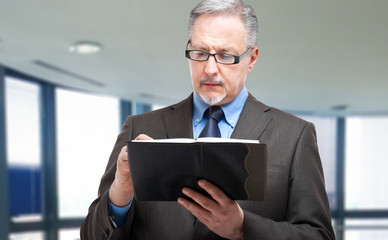 Mature businessman writing on his agenda