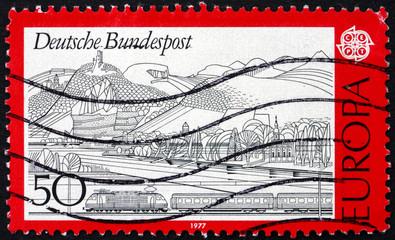 Postage stamp Germany 1977 Rhine, Siebengebirge and Train