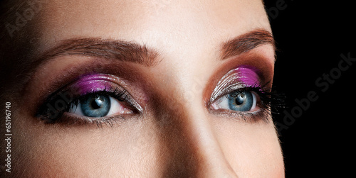 female eye. professional makeup.
