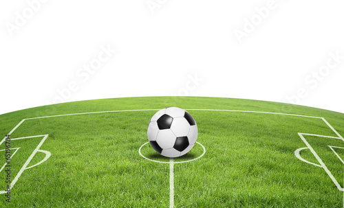 canvas print picture Fußballfeld mit Ball