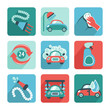 Car Wash Icons Flat