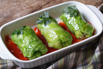 Rolls of young cabbage stuffed with rice and meat