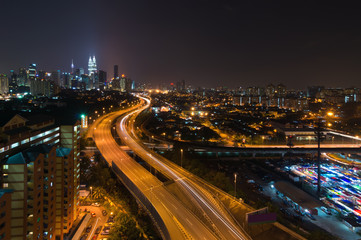 Night view of elevated busy highway heading towards Kuala Lumpur