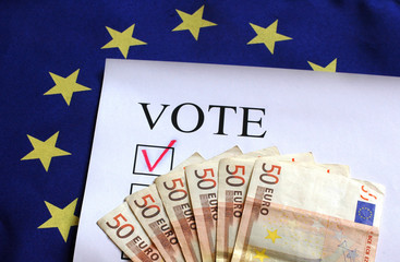 euro vote flag money