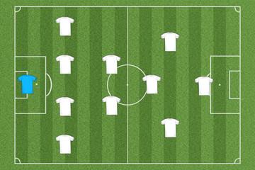 Fussballfeld Team Aufstellung
