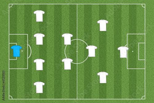 canvas print picture Fussballfeld Team Aufstellung
