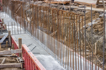 Concrete steel reinforcement in foundation of a new building