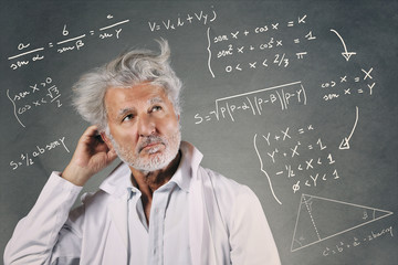 Scientist with mathematics formulas