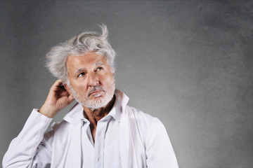 White hairs scientist thinking