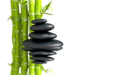 zen basalt stones with bamboo